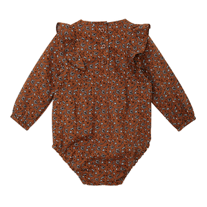 Rust Floral Long Sleeve Body Suit