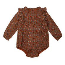 Load image into Gallery viewer, Rust Floral Long Sleeve Body Suit
