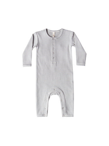 Quincy Mae Ribbed Baby Jumpsuit - Eucalyptus Stripe