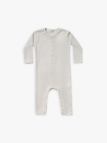 Quincy Mae Ribbed Baby Jumpsuit - Fog Stripe