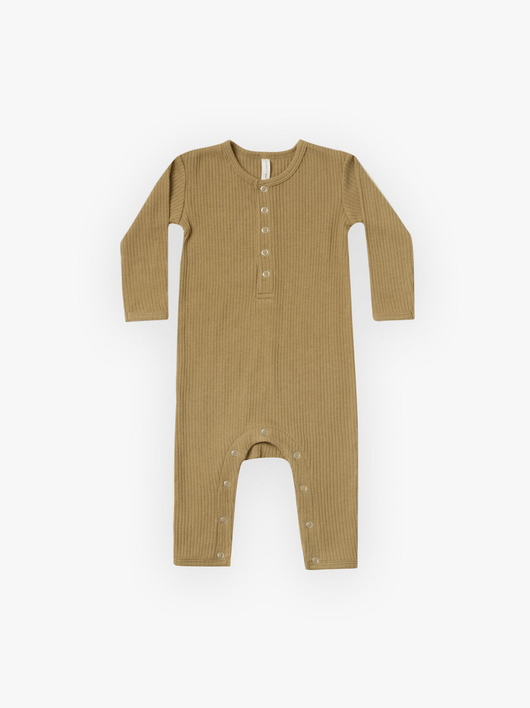 Quincy Mae Ribbed Baby Jumpsuit - Ocre