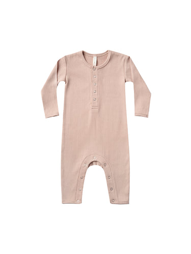 Quincy Mae Ribbed Baby Jumpsuit - Petal