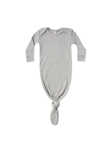 Quincy Mae -Ribbed Knotted Baby Gown - Eucalyptus Stripe