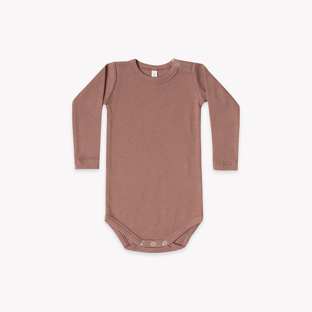 Quincy Mae - Long Sleeve Ribbed Onesie - Clay