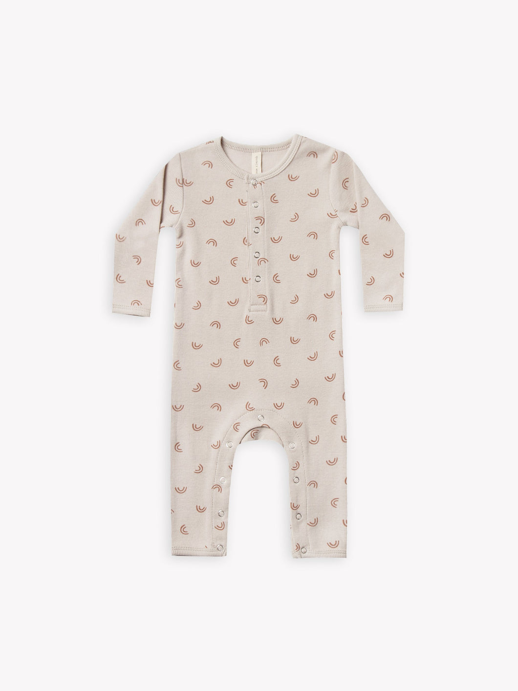 Quincy Mae Ribbed Baby Jumpsuit - Stone