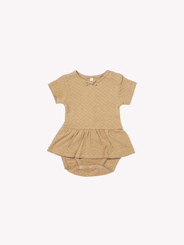 Quincy Mae Pointelle SS Skirted Onesie - Honey