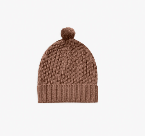Quincy Mae Knitted Pom Pom Beanie - Clay