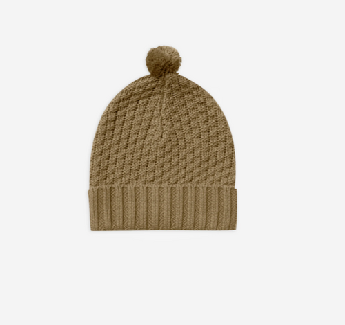 Quincy Mae Knitted Pom Pom Beanie - Olive
