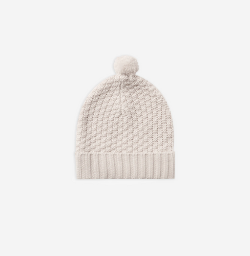 Quincy Mae Knitted Pom Pom Beanie - Pebble