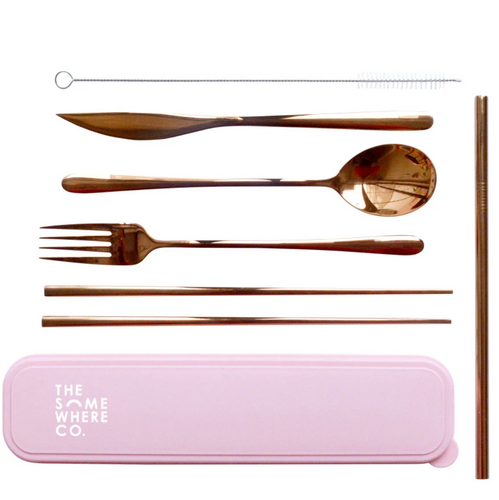 The Somewhere Co. Take Me Away Cutlery Kit - Rose Gold