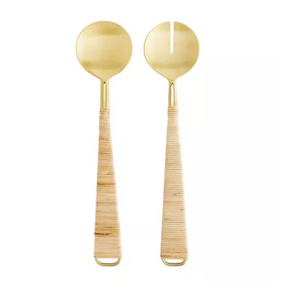 Salad Servers Set Stainless Steel & Bamboo