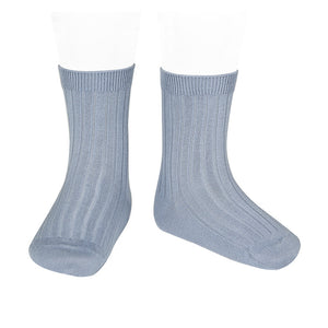 Short Ribbed Socks- Acero