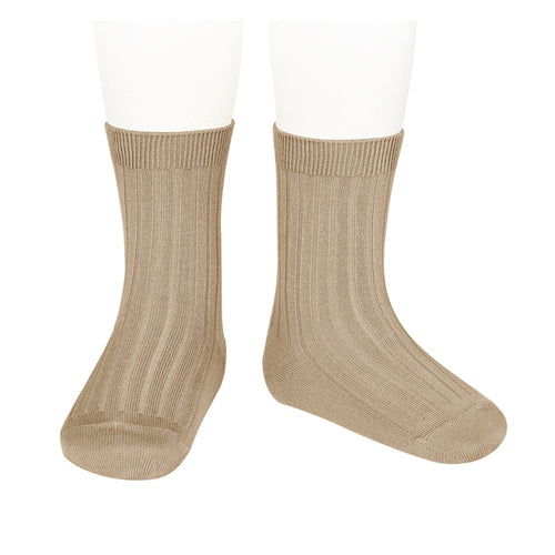 Short Ribbed Socks- Camel