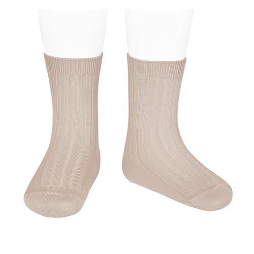 Short Ribbed Socks- Nude