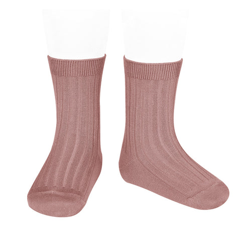 Short Ribbed Socks- Terracotta