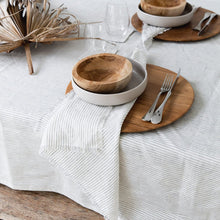 Load image into Gallery viewer, Linen Tablecloth- Blue Stripe