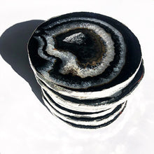 Load image into Gallery viewer, Gilded Brazilian Agate Coasters Set- Onyx and Silver