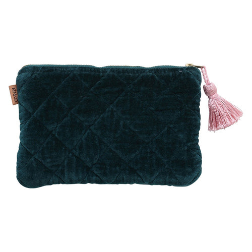 Kip & Co - Alpine Green Velvet Quilted Cosmetic Purse