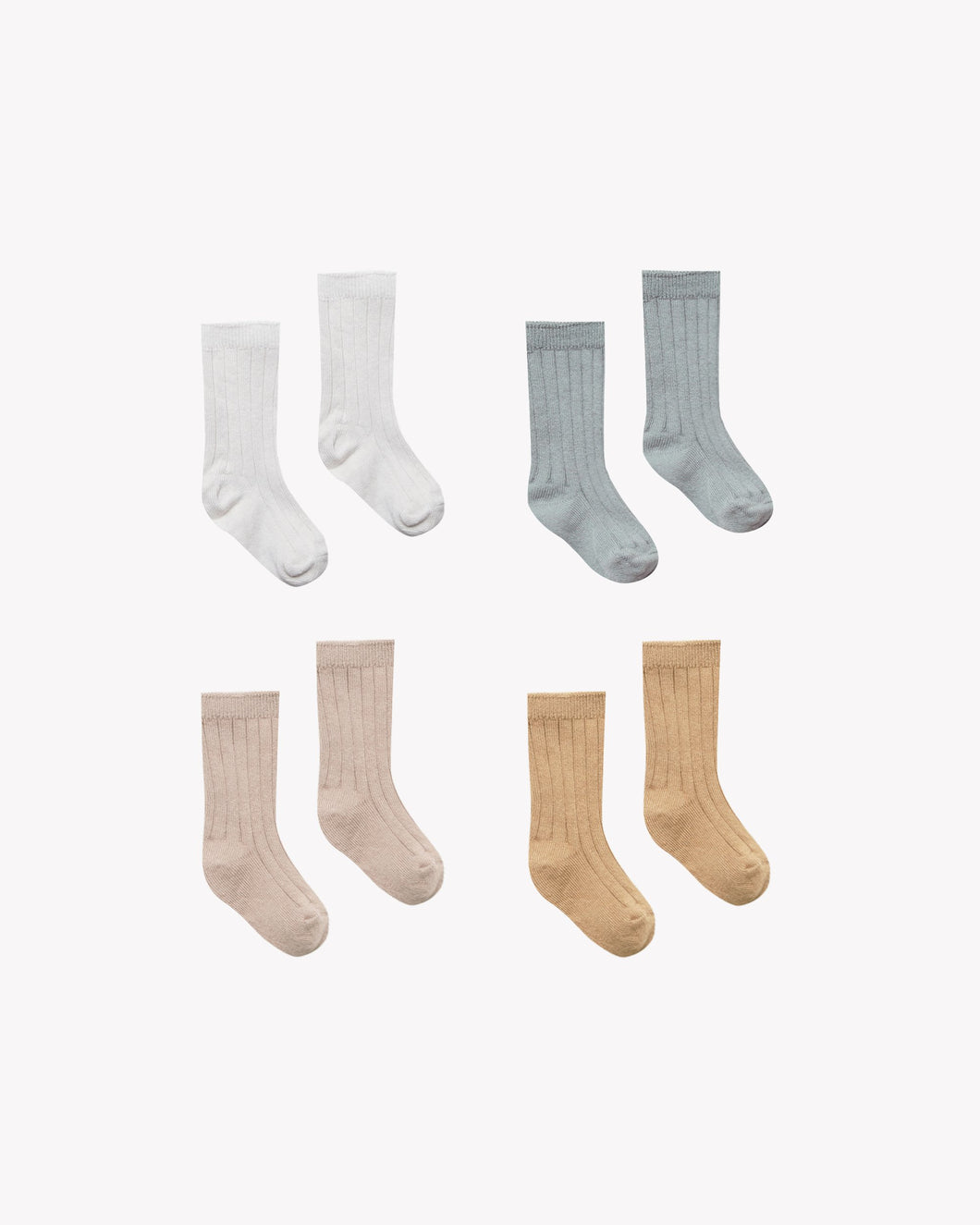 Quincy Mae - Socks 4 Pack Ivory, Dusty Blue, Rose, Honey