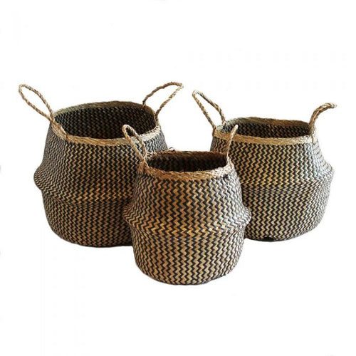 Electric Eyes Barro Seagrass Basket- Natural/Black Weave