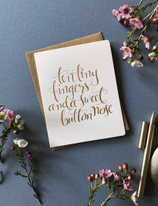 Bespoke Letterpress- 'Ten Tiny Fingers' Card -Blush