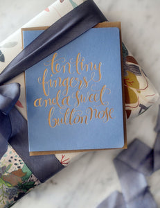Bespoke Letterpress- 'Ten Tiny Fingers'  Card - Blue