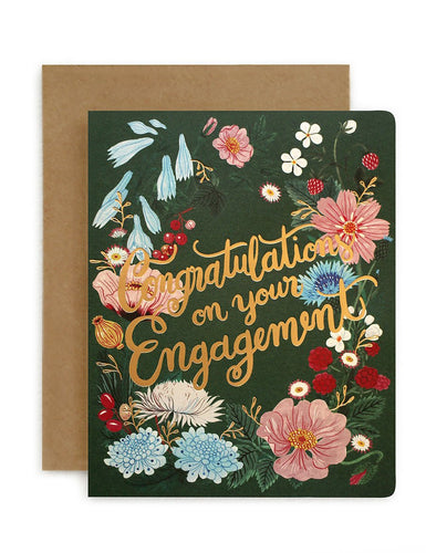 Bespoke Letterpress Folk 'Congratulations on your Engagement' Card