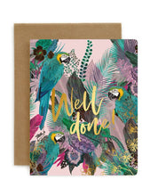 Load image into Gallery viewer, Bespoke Letterpress Jungle 'Well Done' Card