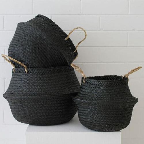 Electric Eyes Barro Seagrass Basket- Black