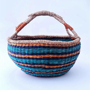 Boho Market Basket - Turquoise Striped