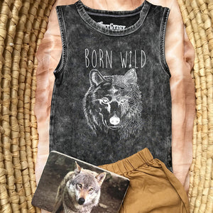 Born Wild Kids Tanks - Stonewash