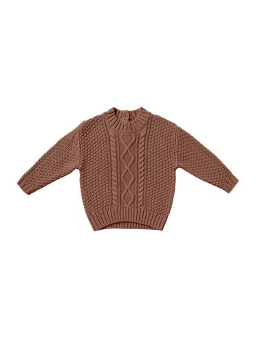 Quincy Mae Cable Knit Sweater - Clay