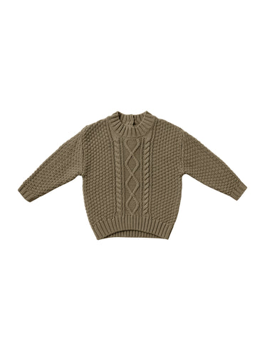 Quincy Mae Cable Knit Sweater - Olive