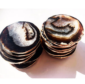 Gilded Brazilian Agate Coasters Set - Fawn and Rose Gold