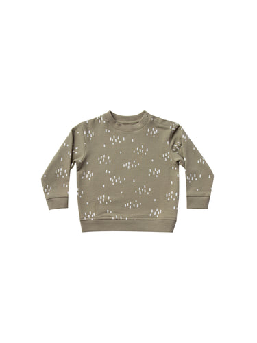 Quincy Mae Basic Fleece Sweatshirt- Olive