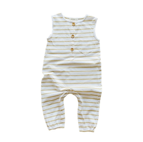 Two Darlings - Golden Stripe Button Up Romper