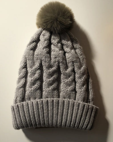 Luna's Treasures Single Pom Cosy Knit Beanie - Sage