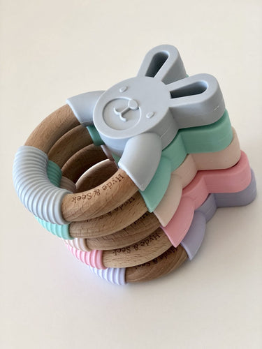 Hyde & Seek Silicone Bunny Teether - Assorted Colours