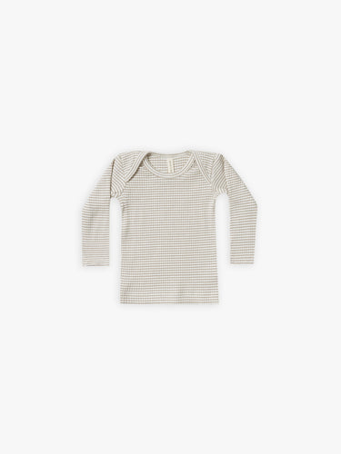 Quincy Mae Ribbed L/S Lap Tee - Fog Stripe