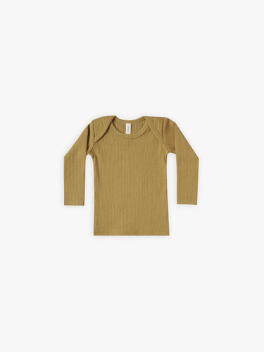 Quincy Mae Ribbed L/S Lap Tee - Ocre