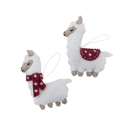 Christmas Llamas - red