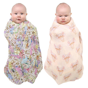 May Gibbs X Kip & Co Pretty Lady and Flora & Fauna Swaddle Set