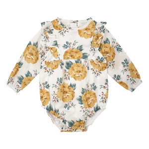 Miann & Co - Mustard Floral Long Sleeve Bodysuit