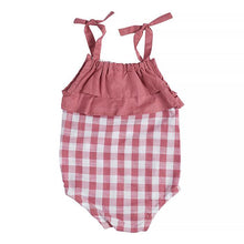 Load image into Gallery viewer, Miann & Co Gingham Shoulder Tie Body Suit - Pink