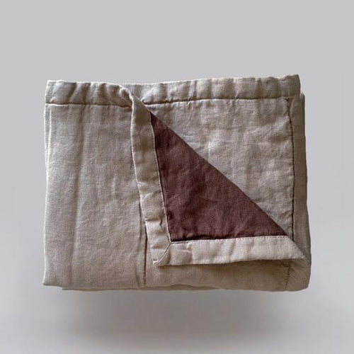 7pm Linen Quilted Blanket- Almond & Mud