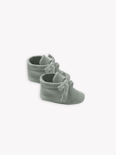 Quincy Mae Ribbed Baby Booties - Eucalyptus