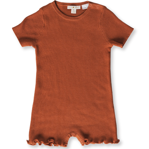 Grown Ribbed Romper - Rust