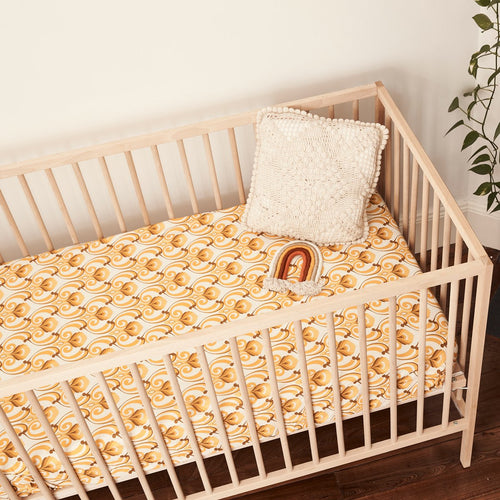 Banabae Organic Hemp/Cotton Fitted Cot Sheet - Ride The Wave (Golden)