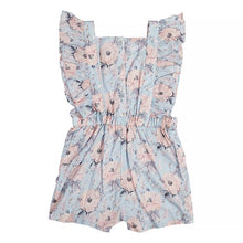Load image into Gallery viewer, Rose Print Frill Short Overalls