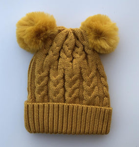 Luna's Treasures Double Pom Cosy Knit Beanie - Sunrise